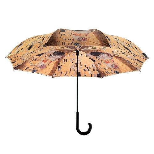 "Gustav Klimt ""The Kiss"" Stick Umbrella Reverse Close"
