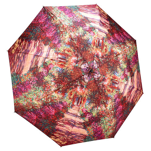 Monet, A Pathway in Monet's Garden Reverse Close Folding Umbrella