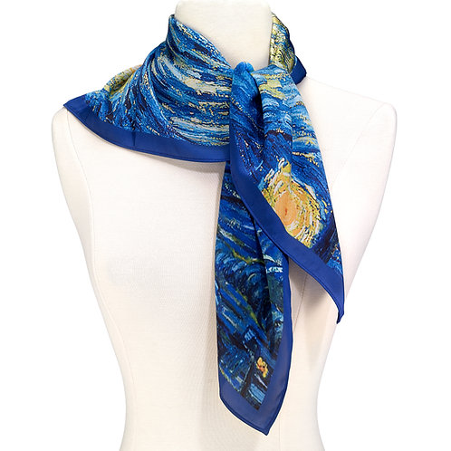 Van Gogh Starry Square Satin Chiffon Night Scarf