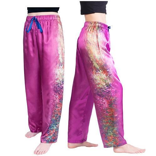 Pathway to Monets Garden Satin Pajama Pants