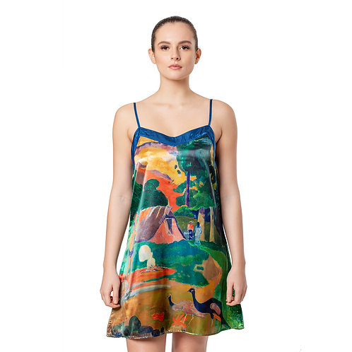 Gauguin Landscape with Peacocks Satin Chemise Nightgown
