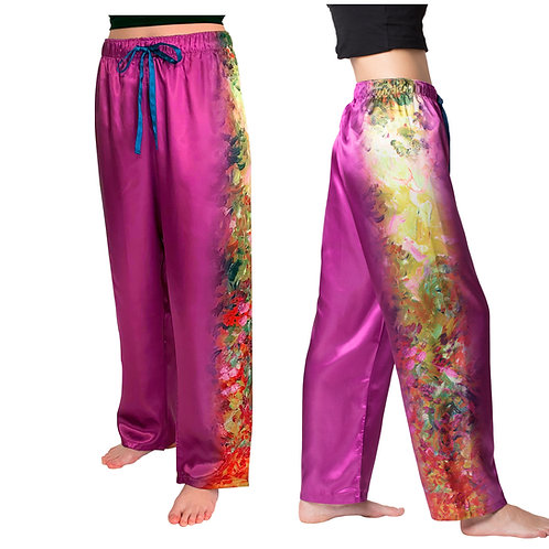 House from the Garden-Satin Pajama Pants
