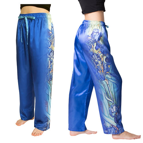 Van Gogh Irises-Satin Pajama Pants