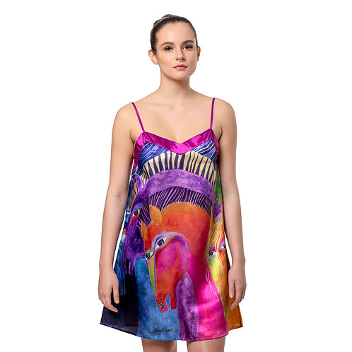 Laurel Burch Wild Horses of Fire Satin Chemise Nightgown