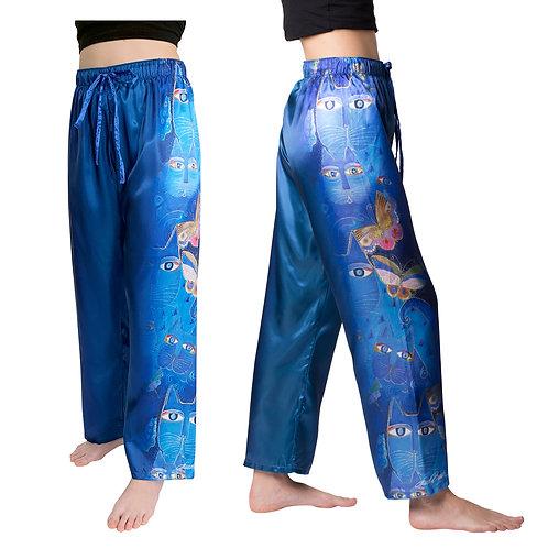 Laurel Burch Indigo Cats Satin Pajama Pants