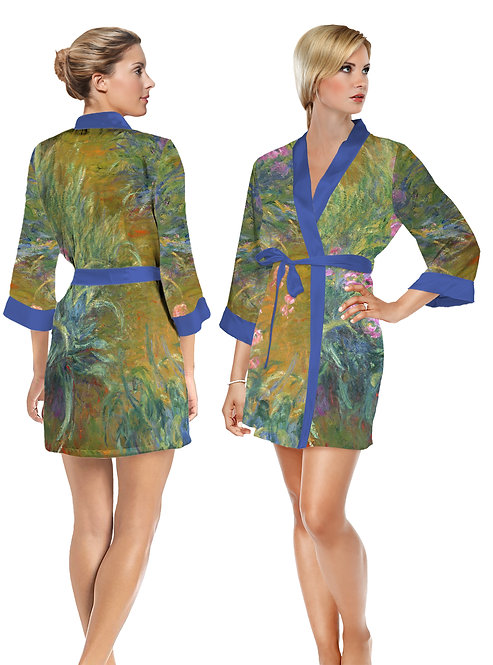 Irises by Monet Satin Short Bathrobe
