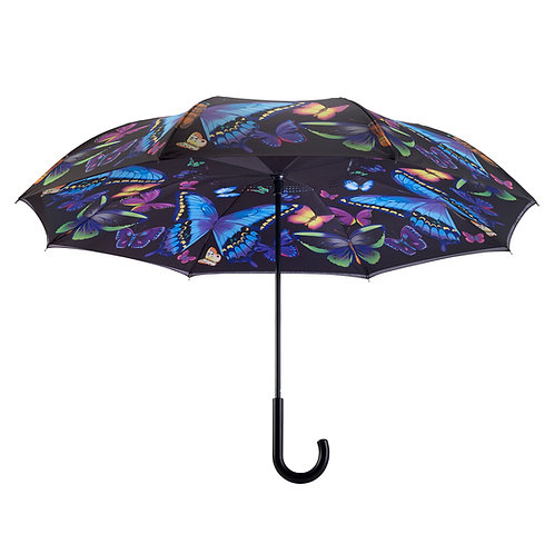 Moonlight Butterflies Stick Umbrella Reverse Close