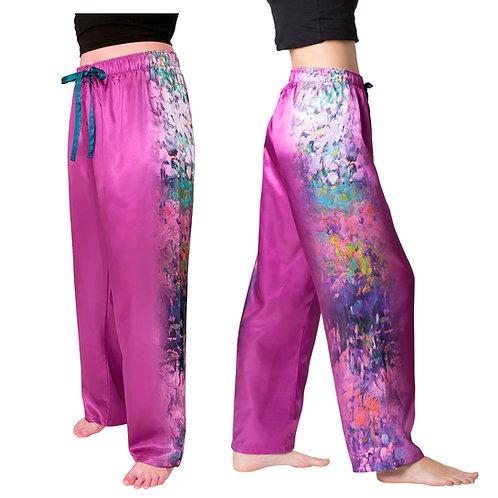Garden Symphony-Satin Pajama Pants