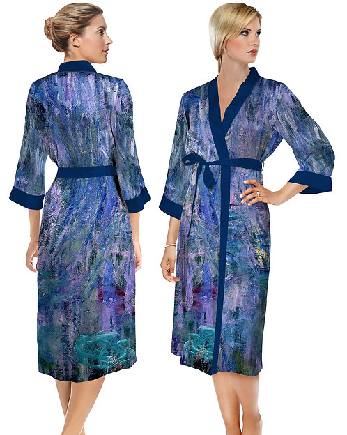 Waterlilies and Reflection of a Willow Tree Satin Long Bathrobe