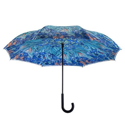 Van Gogh Irises Stick Umbrella Reverse Close