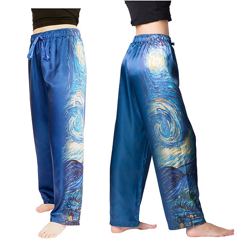 Starry Night-Satin Pajama Pants
