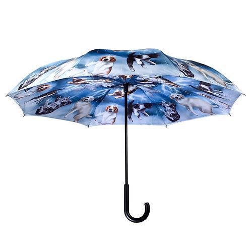 Cats & Dogs Stick Umbrella Reverse Close