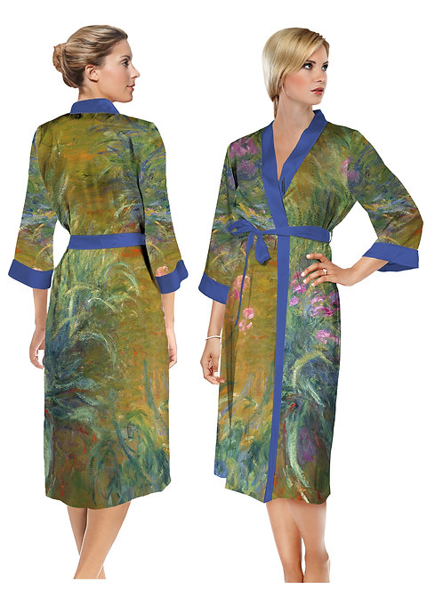 Irises by Monet Satin Long Bathrobe