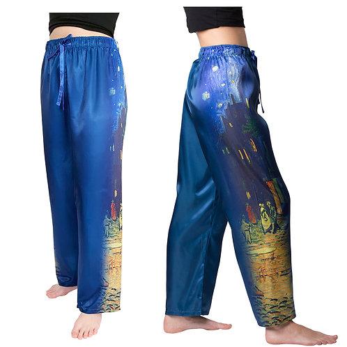 Van Gogh Café Terrace-Satin Pajama Pants