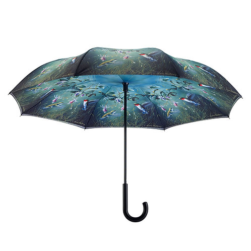 Humming Birds Stick Umbrella Reverse Close