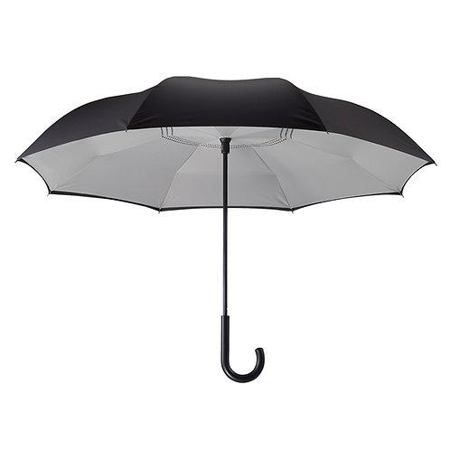 Black/Grey Stick Umbrella Reverse Close