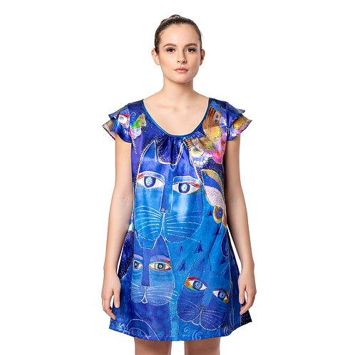 Laurel Burch Indigo Cats Satin Flutter Sleeve Nightgown