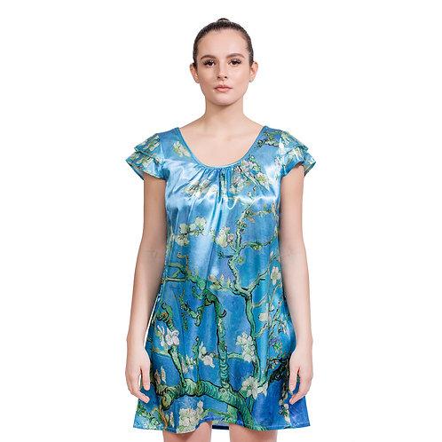 Van Gogh Almond Blossom-Satin Flutter Sleeve Nightgown