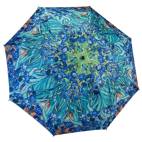 Van Gogh Irises Reverse Close Folding Umbrella