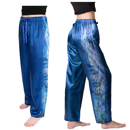 Monet Waterlilies and Reflection of a Willow Tree Satin Pajama Pants