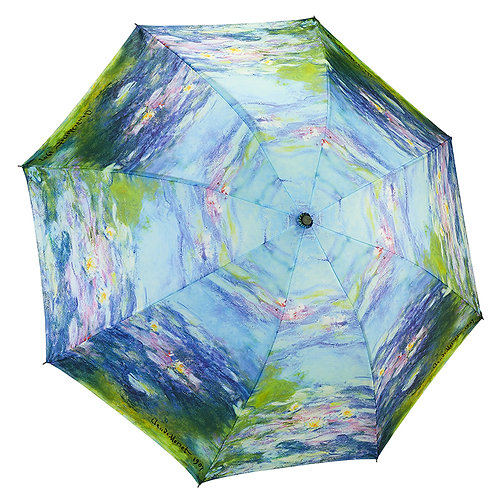 Water Lilies Reverse Close Folding Umbrella
