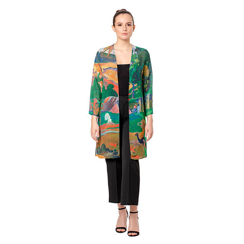 Gauguin Landscape with Peacocks Sheer Cardigan
