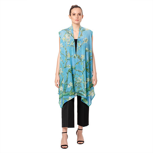 Van Gogh Almond Blossom Sheer Long Vest
