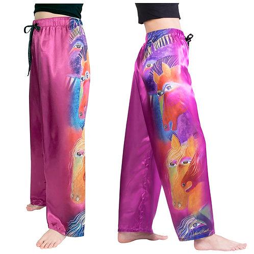 Laurel Burch Wild Horses of Fire Satin Pajama Pants