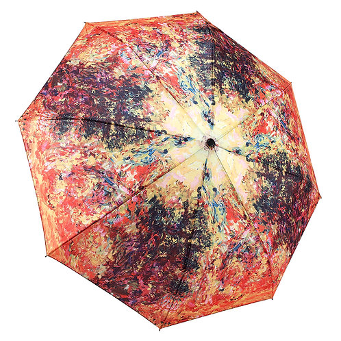 Monet, The Artist's House from the Rose Garden Reverse Close Folding Umbrella