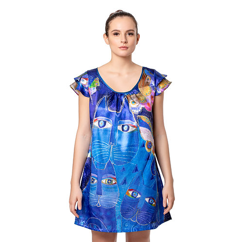 Laurel Burch Indigo Cats Flutter Sleeve Nightgown