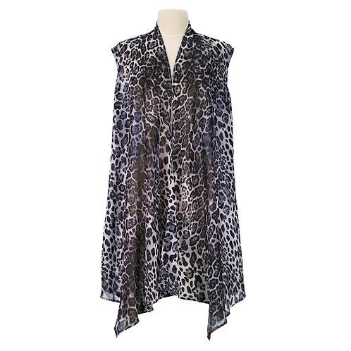 Leopard Skin Blk/Wht Sheer Long Vest