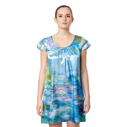 Monet Waterlilies-Satin Flutter Sleeve Nightgown