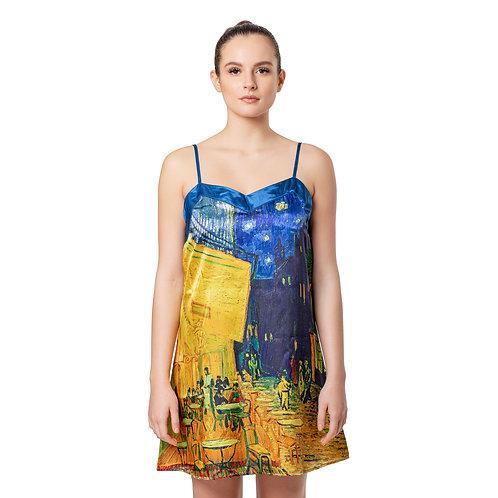 Van Gogh Café Terrace Satin Chemise Nightgown
