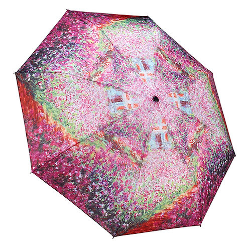 Monet's Garden Reverse Close Folding Umbrella