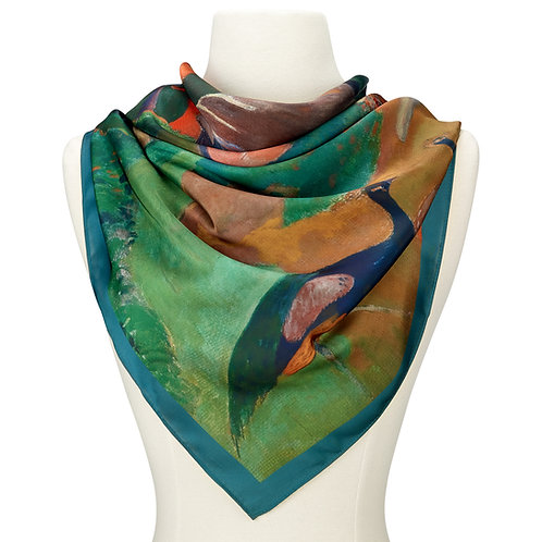 Gauguin Landscape with Peacock Satin Chiffon Scarf