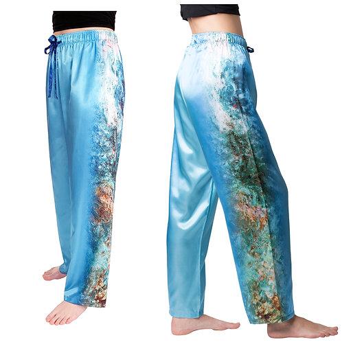 Monet House Viewed From Rose Garden Satin Pajama Pants