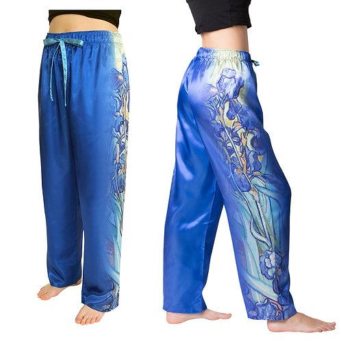 Van Gogh Irises Satin Pajama Pants