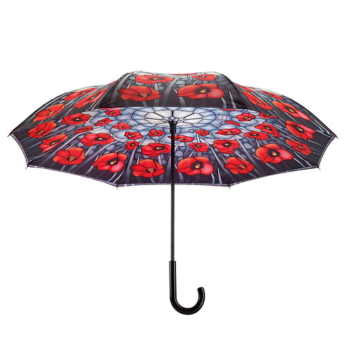 Stained Glass Poppies Stick Stick Umbrella Reverse Close