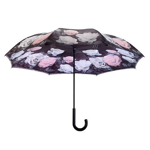 Vintage Roses Stick Umbrella Reverse Close