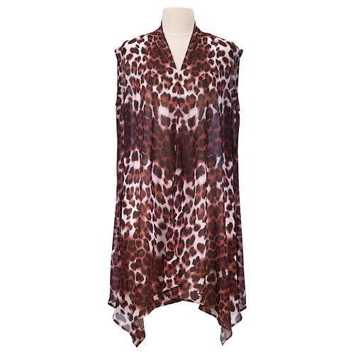 Leopard Skin Full Color Sheer Long Vest