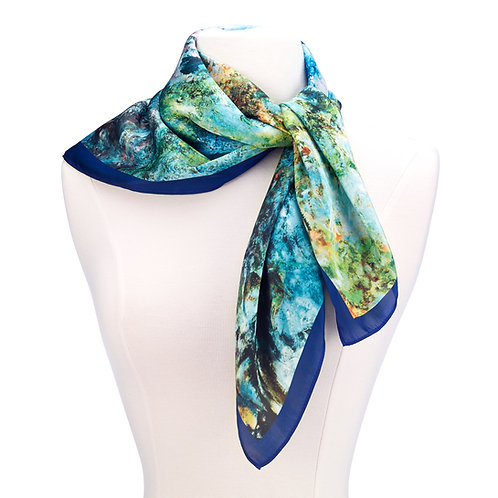 The House at Giverny Viewed From Rose Garden Satin Chiffon Scarf