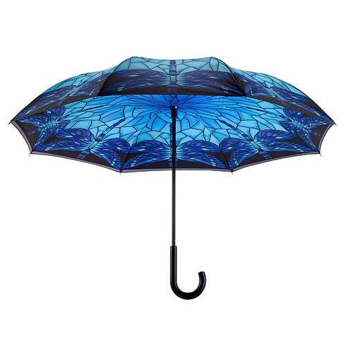 Stained Glass Dragonfly Stick Umbrella Reverse Close
