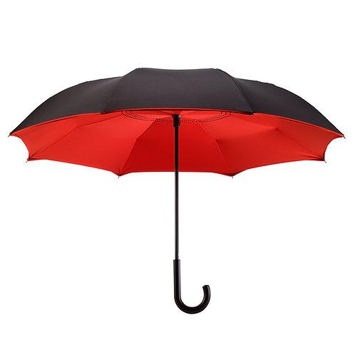 Black / Red Stick Umbrella Reverse Close