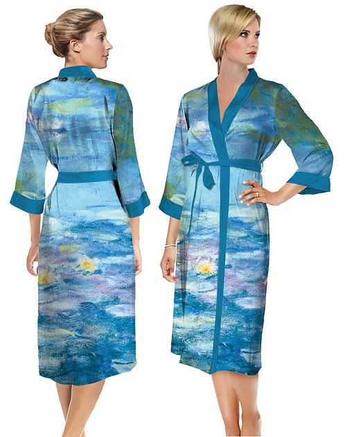 Waterlilies Satin Long Bathrobe
