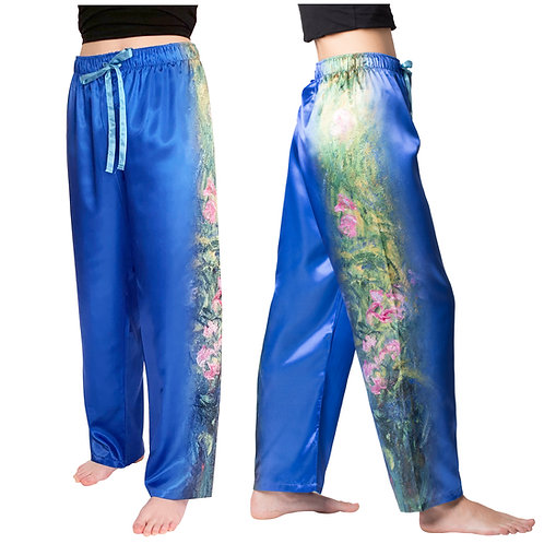 Irises by Monet-Satin Pajama Pants