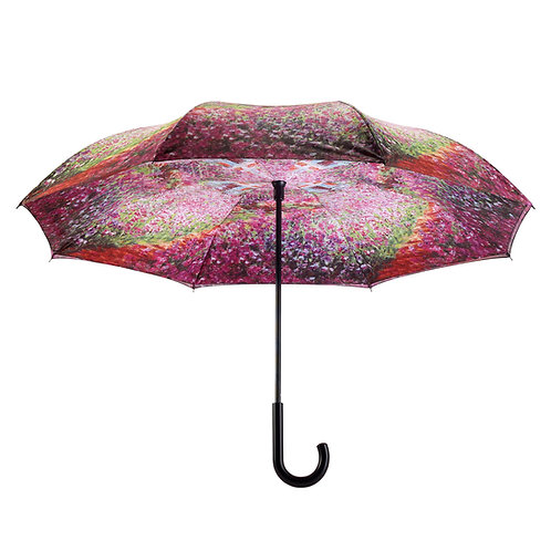 Monet's Garden Stick Umbrella Reverse Close