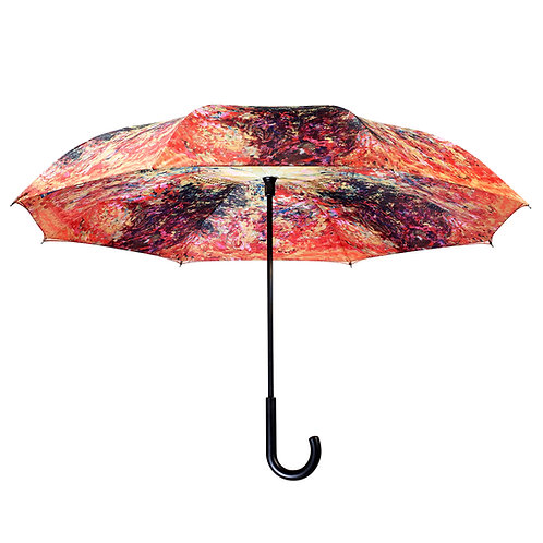 Monet, The Artist's House from the Rose Garden Stick Umbrella Reverse Close