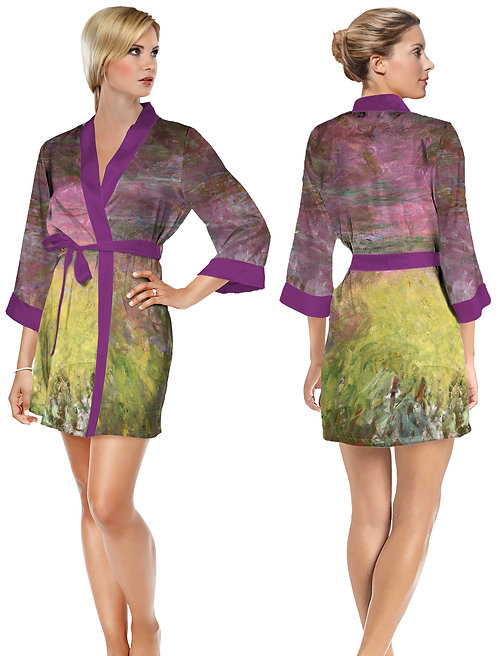 Waterlilies at Sunset Satin Short Bathrobe