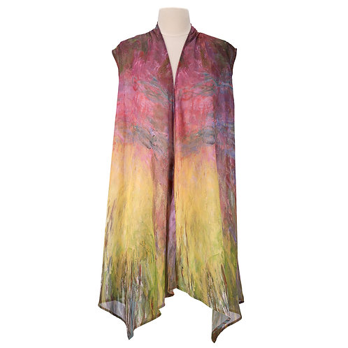 Waterlilies at Sunset Sheer Long Vest