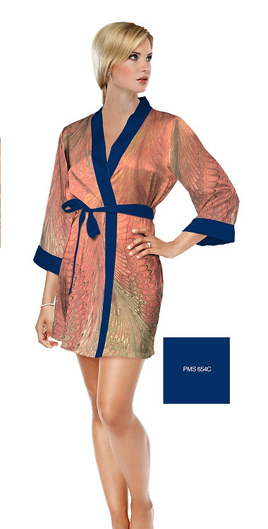 Dahlia Satin Short Bathrobe
